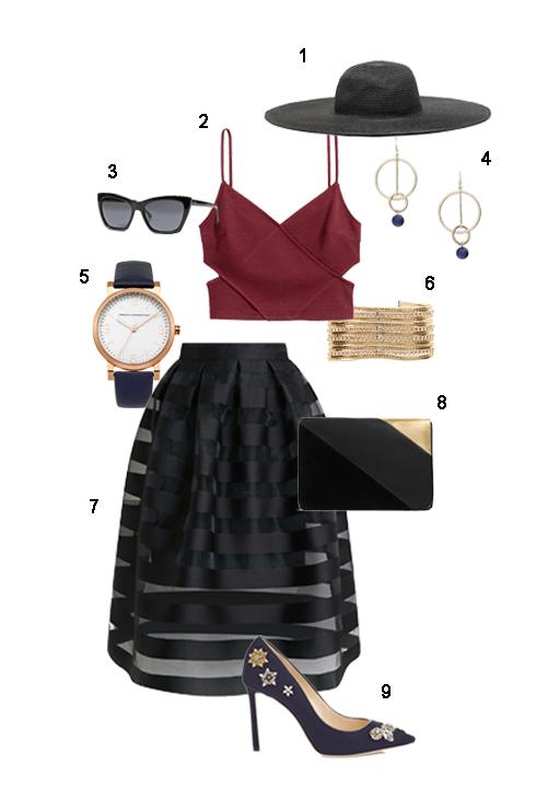 THỨ BẢY: 1 Nón Zara, 2 Áo 2 dây croptop H&M, 3 Mắt kính Banana Republic, 4 Hoa tai Mango, 5 Đồng hồ Fcuk, 6 Vòng tay Coast, 7 Váy Topshop, 8 Clutch Zara, 9 Giày Jimmy Choo.