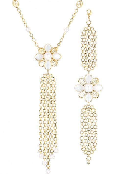 Vòng đeo cổ Perle Chaines với thiết kế dây xích độc đáo làm từ vàng 18K kết hợp với ngọc trai, kim cương và xà cừ và vòng đeo tay Perle Chaines