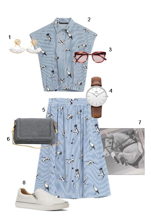 THỨ SÁU: 1 Hoa tai Charles & Keith, 2 + 5 Set Áo + Váy Zara, 3 Mắt kính Fcuk, 4 Đồng hồ Topshop, 6 Túi H&M, 7 Khăn Hermès, 8 Giày Nine West.