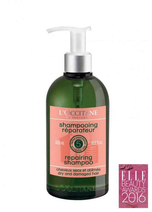 <strong>2. L'OCCITANE REPAIRING SHAMPOO</strong><br/>Dầu gội công thức mới có chứa phức hợp liên kết chống đứt gãy được tạo nên từ 5 loại tinh dầu (ylang-ylang, cam ngọt, hoa oải hương, phong lữ, bạch chỉ) và các axít amin có nguồn gốc thực vật, giúp phục hồi từ sợi tóc. Công thức không chứa silicon giúp mái tóc mềm ngay cả với tóc mỏng và yếu. Ngoài ra, dầu gội được bổ sung vitamin B5 giúp làm mịn, mềm và bảo vệ sợi tóc.