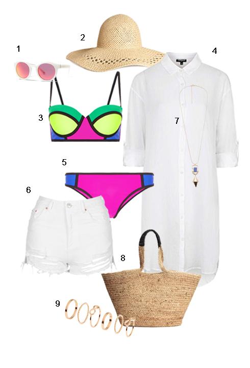 CHỦ NHẬT: 1 Mắt kính Banana Republic, 2 Nón rộng vành H&M, 3+5 Bộ bikini Accessorize, 4 Áo sơ mi dài Topshop, 6 Quần Topshop, 7 Dây cổ Mango, 8 Túi H&M, 9 Bộ nhẫn H&M.