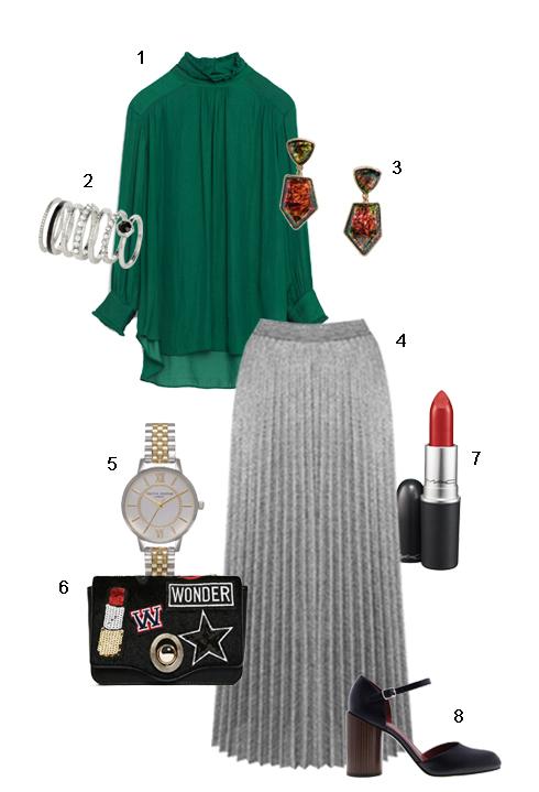 <br/>THỨ NĂM: 1 Áo Zara, 2 Nhẫn Accessorize, 3 Hoa tai H&M, 4 Váy Warehouse, 5  Đồng hồ Topshop, 6 Túi Zara, 7 Son M.A.C, 8 Giày Charles &Keith.