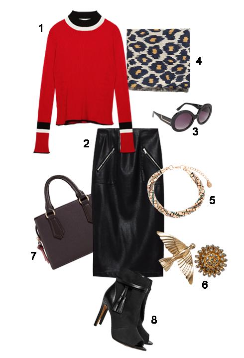 <br/>THỨ 3: 1. Áo Zara, 2. Chân váy H&M, 3. Mắt kính Aldo, 4. Khăn Mango, 5. Vòng tay Accessories, 6. Khuyên tai  Zara, 7. Túi xách Zara, 8. Giày FCUK