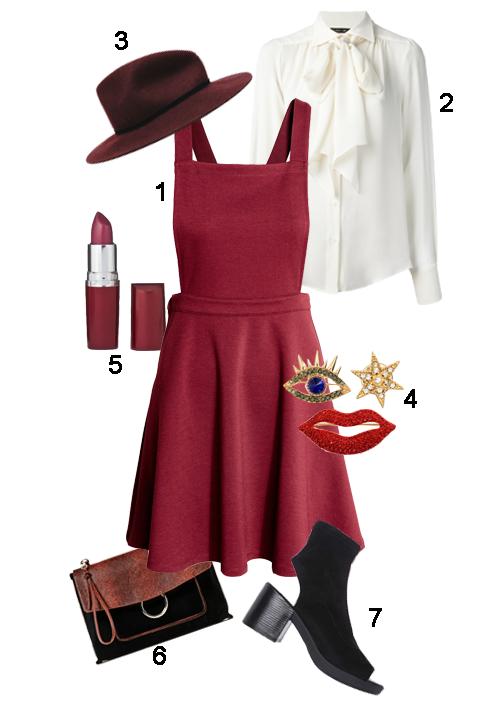 THỨ 2: 1. Váy H&M, 2. Áo Plein Sud, 3. Mũ Zara, 4. Phụ kiện H&M, 5. Son Maybeline, 6. Clutch Zara, 7. Giày Topshop