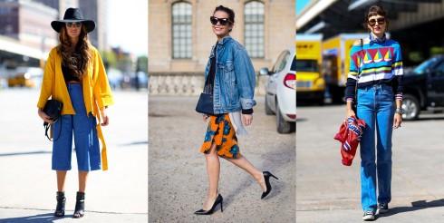 Cách phối đồ với chất liệu Denim - Áo khoác màu nổi bật và phụ kiện đơn giản với kính râm và giày cao gót.