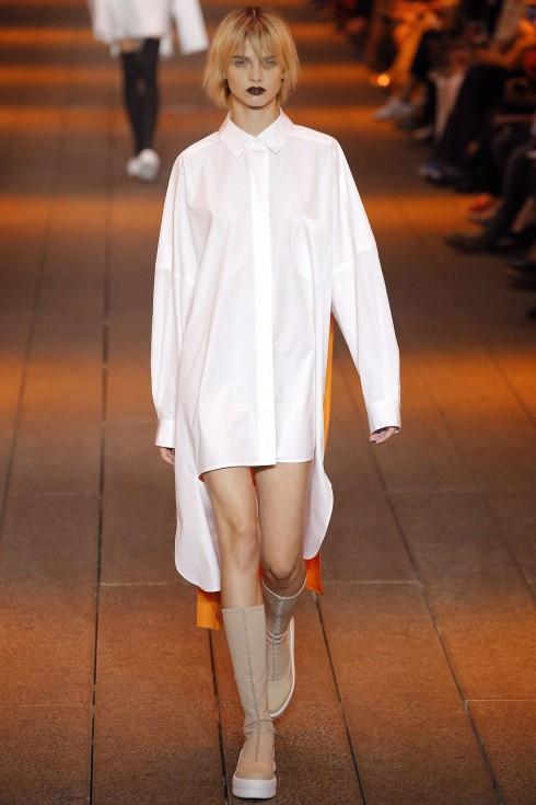 Váy shirt dress hi-low phóng khoáng từ DKNY