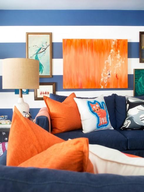 Trang trí nội thất xanh dương và cam