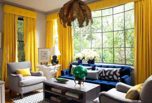 Trang trí nội thất xanh dương và vàng
