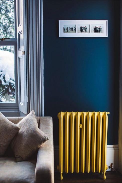 Trang trí nội thất xanh dương và vàng ellevn 1