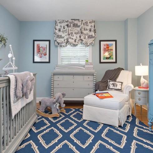 Trang trí nội thất xanh dương và xám