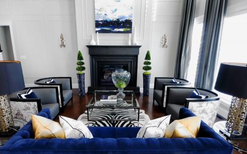 Trang trí nội thất xanh dương và xám ellevn 1