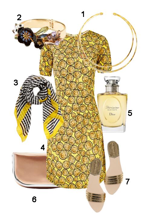 THỨ 6: 1. Kiềng quatangclub.com, 2. Vòng Banana, 3. Khăn Nordstrom, 4. Áo dài Zanado, 5. Nước hoa Dior, 6. Clutch Banana, 7. Dép Zara