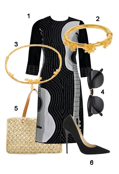 THỨ 7: 1. Áo dài Chula, 2. & 3. Bộ vòng cưới Mi Hồng, 4. Kính H&M, 5. Túi Thrift store, 6. Giày Jimmy Choo