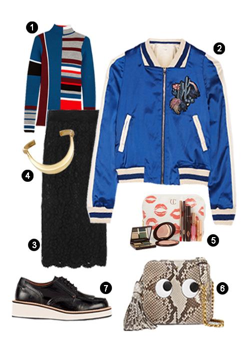 1. Áo Maje, 2. Áo Kenzo, 3. Váy Dolce Gabbana, 4. Vòng Chloe, 5. Bộ trang điểm Charlotte Tilbury, 6. Túi Anya Hindmarch, 7. Giày Givenchy