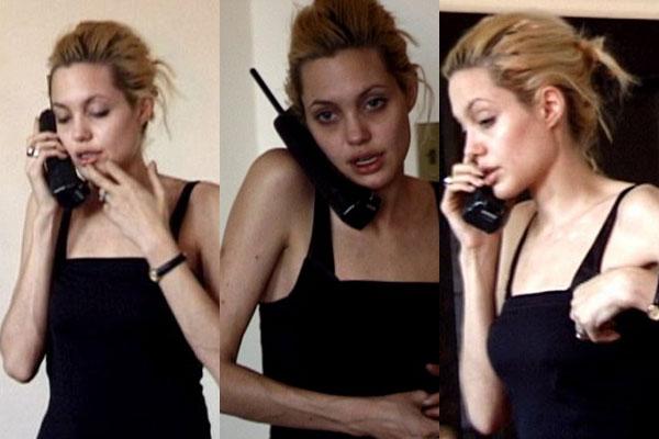 Hình ảnh bê tha trong quá khứ của nữ diễn viên Angelina Jolie.