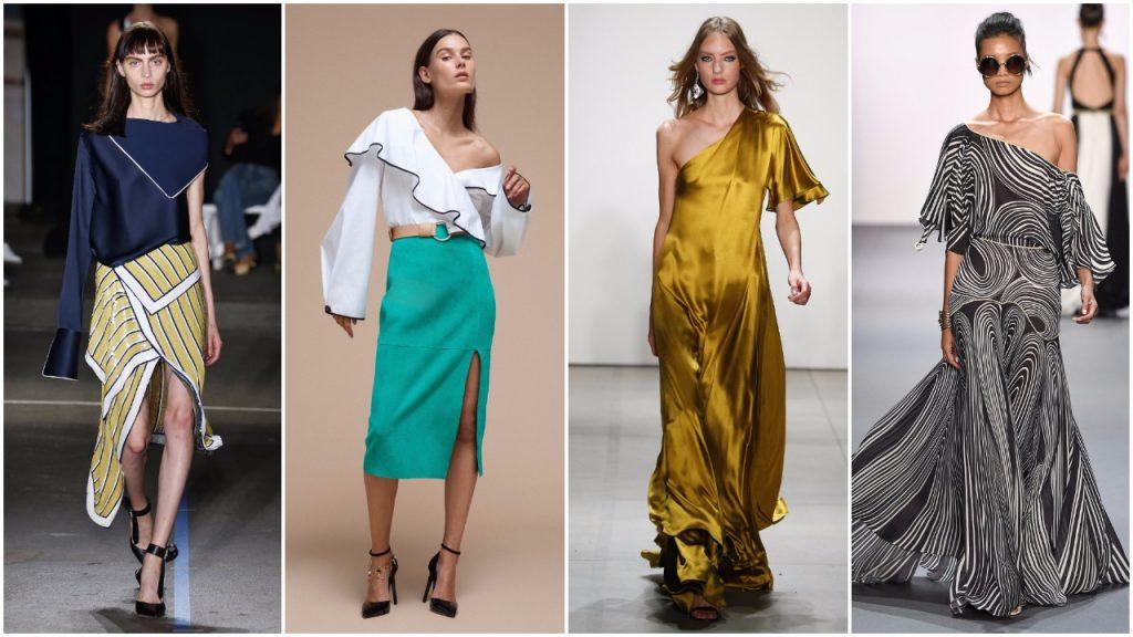 Thiết kế váy lệch vai từ Tuần lễ thời trang New York
