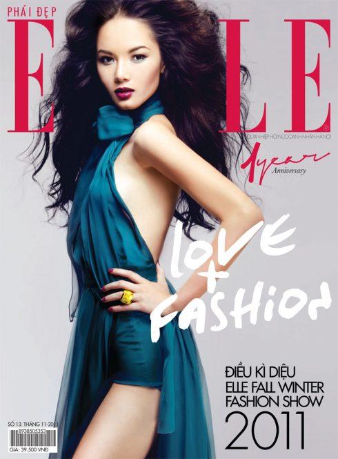 Trang bìa tạp chí mừng sinh nhật ELLE Việt Nam lần thứ 1