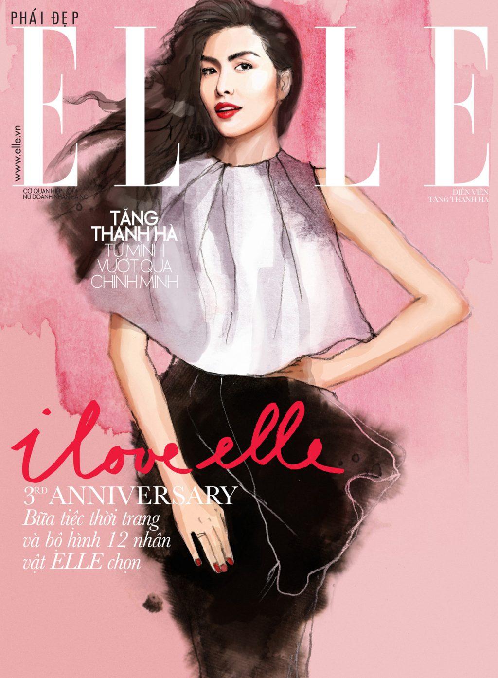 Trang bìa tạp chí mừng sinh nhật ELLE Việt Nam lần thứ 3