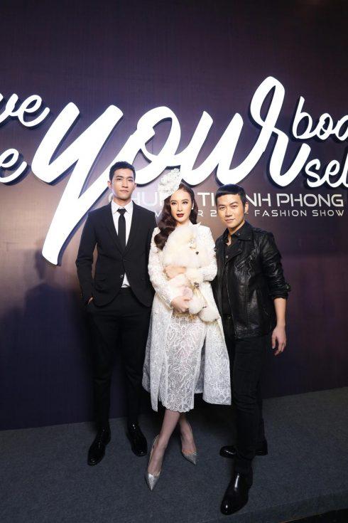 Angela Phương Trinh chụp hình cùng người mẫu Võ Cảnh và NTK Chung Thanh Phong
