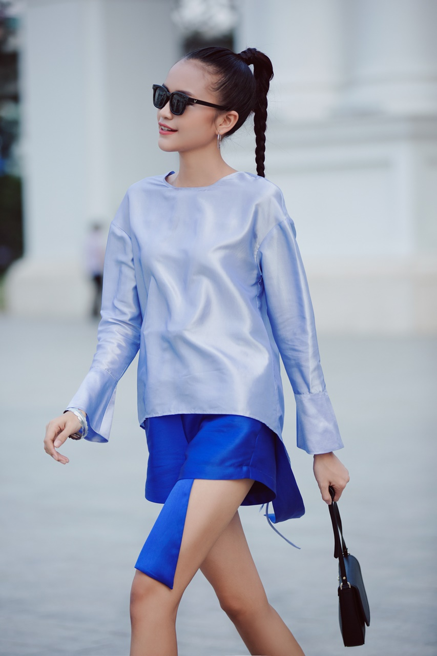 Ngọc Châu Vietnam's Next Top Model lựa chọn phong cách đối lập xuống phố trước thềm Vietnam International Fashion Week Thu Đông 2016 - ELLE VN