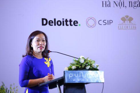 Bà Hà Thu Thanh - Chủ tịch HNEW phát biểu khai mạc diễn đàn.