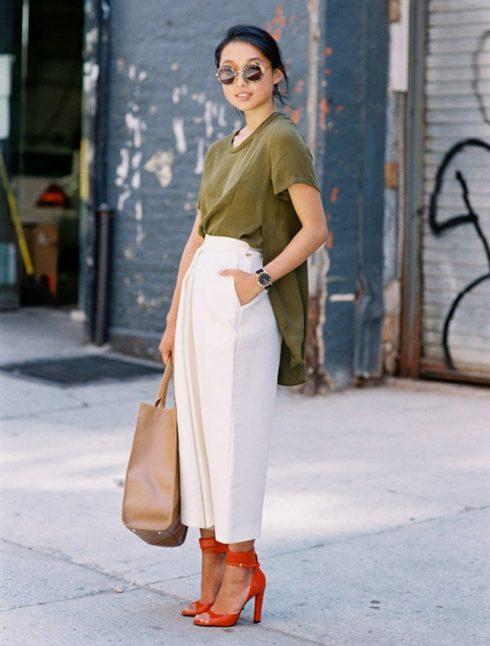 quần lửng ống rộng mặc với áo gì - áo thun dáng dài