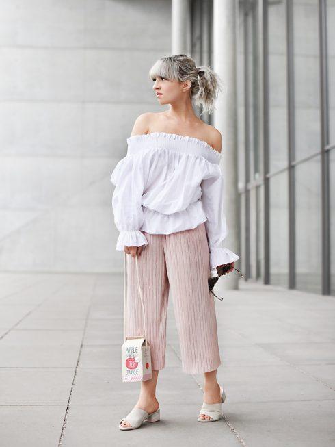 quần lửng ống rộng mặc với áo gì - áo trễ vai