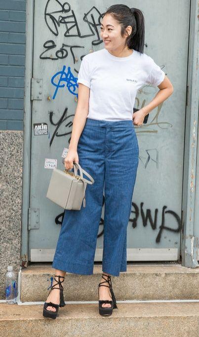 quần lửng ống rộng mặc với áo thun