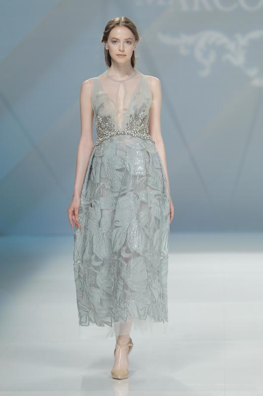 váy cưới đẹp tông nude pha xám xanh của Marco Maria
