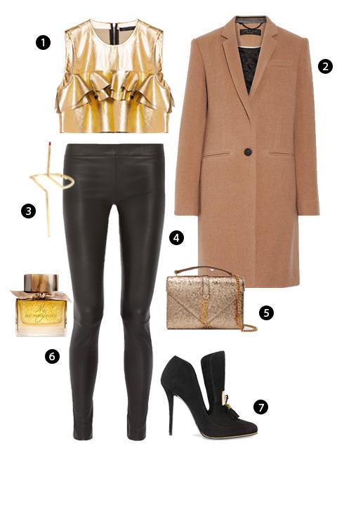1. Zara, 2. Rag & Bone, 3. Vòng đeo tay Paula Mendoza, 4. Quần legging The Row, 5. Saint Laurent, 6. Burberry, 7. Balmain.<br/>elle style calendar quần legging thời thượng