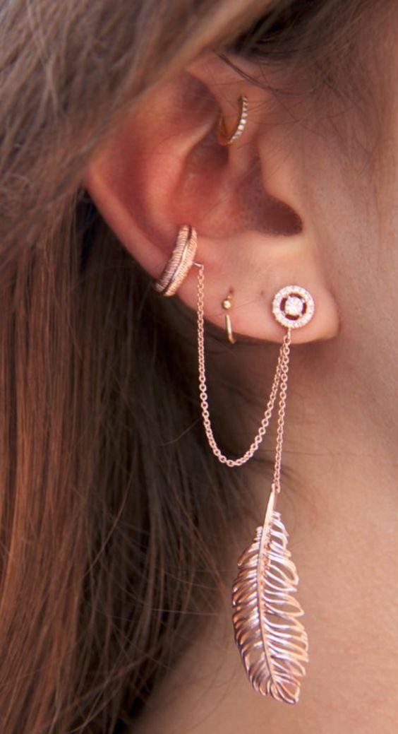 Xỏ lỗ phía trong vành tai - 10 kiểu xỏ lỗ tai được yêu thích - elle vn