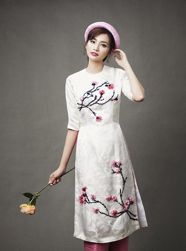Mẫu áo dài cưới đẹp - áo dài tà lửng - elle vn