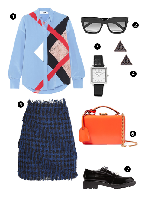 1. MSGM, 2. Saint Laurent, 3. Larsson & Jennings, 4. I+I, 5. MSGM, 6. Mark Cross, 7. Robert Clergerier.