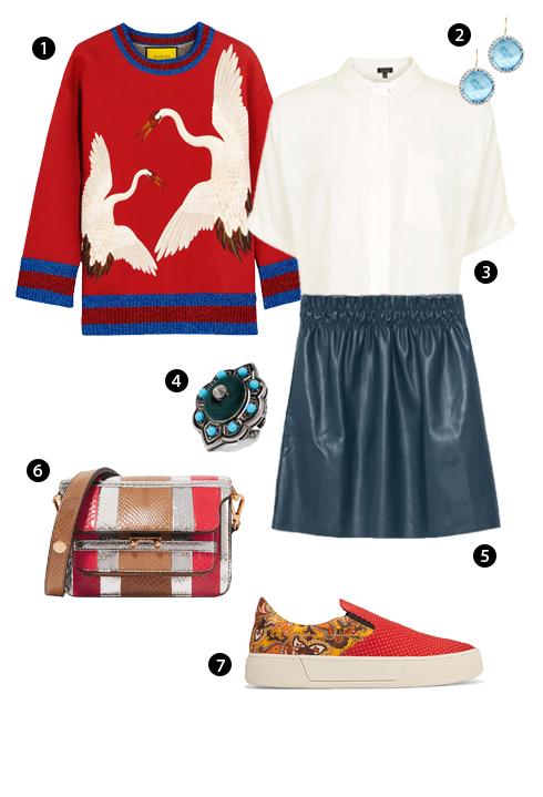 1. Áo Sweatshirt Gucci, 2. Larkspur & Hawk, 3. Topshop, 4. Nhẫn Gucci, 5. Zara, 6. Marni, 7. Balenciaga.<br/>Năng động cùng áo Sweatshirt 04