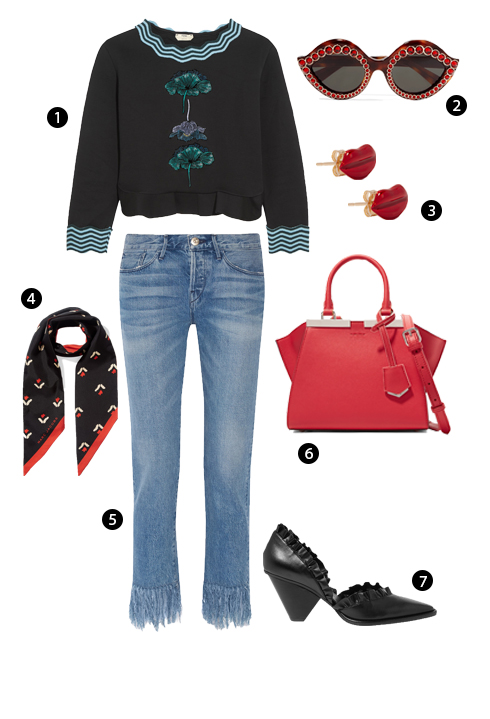 1. Sweatshirt Fendi, 2. Gucci, 3. Alison Lou, 4. Marc Jacobs, 5. 3x1, 6. Fendi, 7. Stella McCartney.