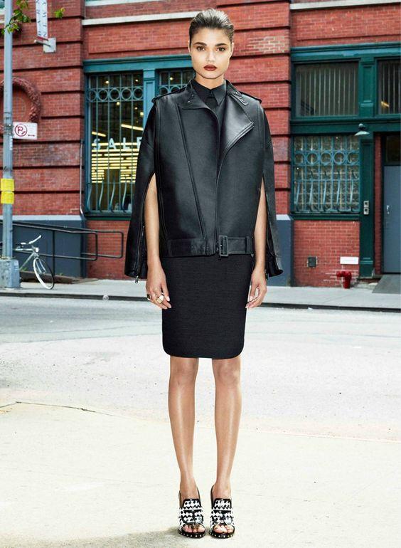 Kết hợp váy bút chì cùng áo khoác da jacket - elle vn