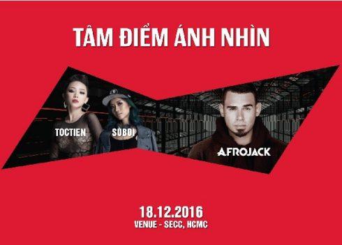 """""""Track"""" nhạc Tâm Điểm Ánh Nhìn Afrojack sản xuất riêng cho Việt Nam kết hợp với Tóc Tiên và Rapper Suboi sẽ khai diễn vào ngày 18.12 cùng hơn 10.000 raver tại SECC"""