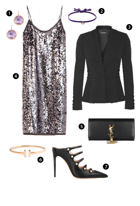 1. Larkspur & Hawk, 2. Dây choker Dannijo, 3. Cushnie et Ochs, 4. Zara, 5. Saint Laurent, 6. Vòng đeo tay Tiffany & Co, 7. Gucci.