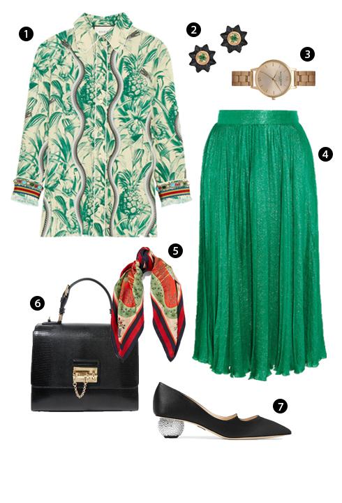 1. Gucci, 2. Khuyên tai Alice Cicolini, 3. Topshop, 4. Gucci, 5. Gucci, 6. Dolce & Gabbana, 7. Paul Andrew.