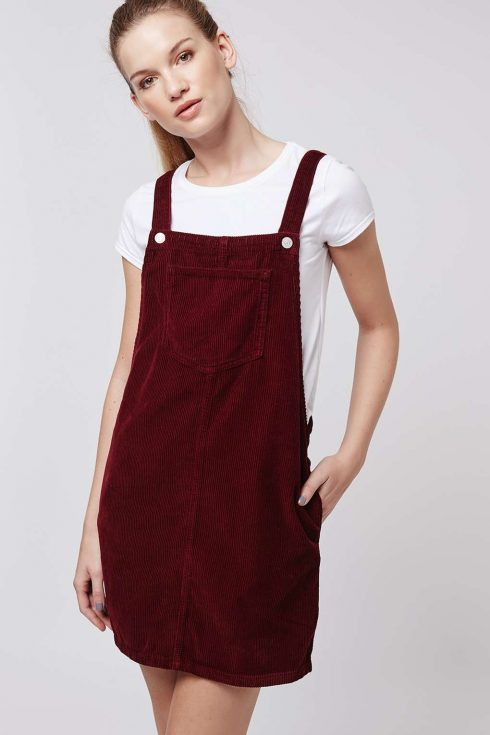 Topshop Tall Moto Cord Pinafore Dress