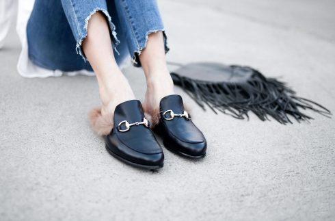 giày lười nữ đính lông của gucci