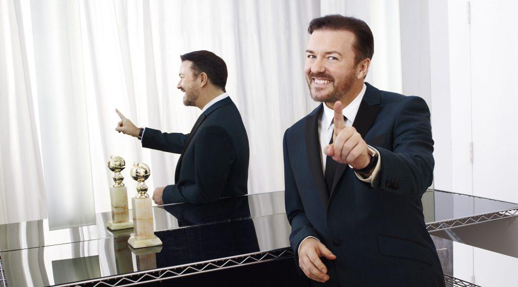 Ricky Gervais tại lễ trao giải Quả Cầu Vàng.