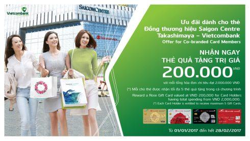 Chương trình ưu đãi hấp dẫn dành cho thẻ đồng thương hiệu Saigon Centre Takashimaya – Vietcombank