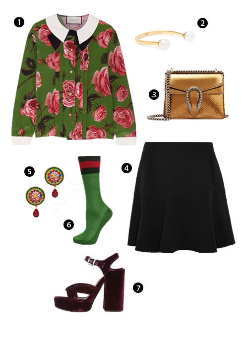 1. Gucci, 2. Nhẫn Delfina Delettrez, 3. Gucci, 4. Chloé, 5. Dolce & Gabbana, 6. Gucci, 7. Jill Sander.