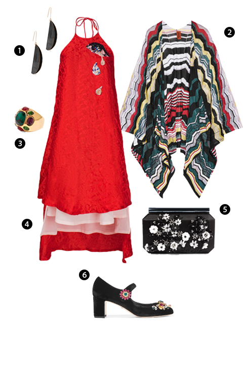 1. Stella McCartney, 2. Khăn quàng cổ Missoni, 3. Nhẫn Kenneth Jay Lane, 4. Thuy Design House, 5. Oscar de la Renta, 6. Dolce & Gabbana.