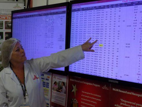 Từ màn hình này, họ sẽ kiểm soát được số lượng suất ăn, loại thực đơn và các thông tin cần thiết khác để lên kế hoạch sản xuất suất ăn cho từng chuyến bay.