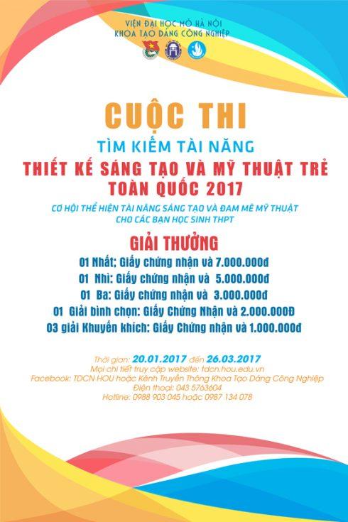 Ban tổ chức nhận bài dự thi từ 20/1/2017 đến 26/3/2017.