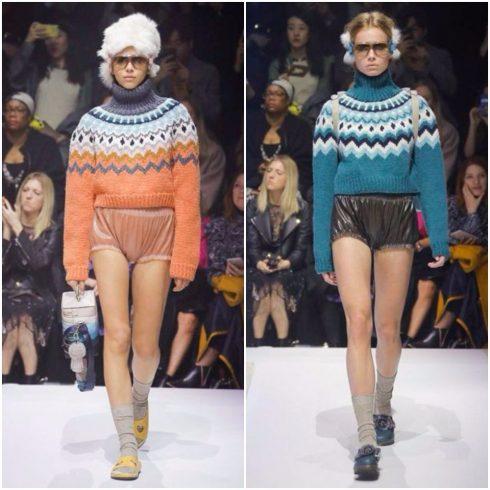 Những chiếc áo lên Fair Isle phối cùng quần shorts siêu ngắn