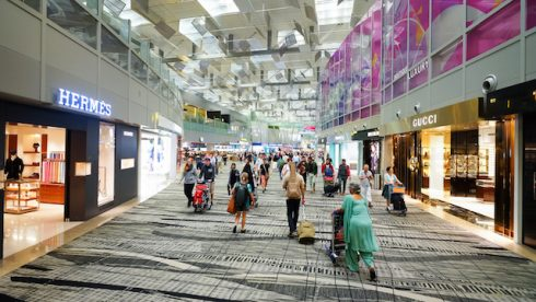 SINGAPORE - NOVEMBER 09, 2015: interior of Changi Airport. Singapore Changi Airport, is the primary
