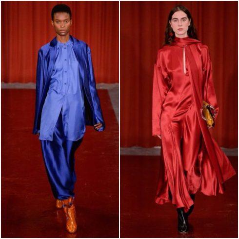 Chất liệu tơ tằm bay bổng cũng sự dụng rộng rãi trong Tuần lễ thời trang London và cả New York